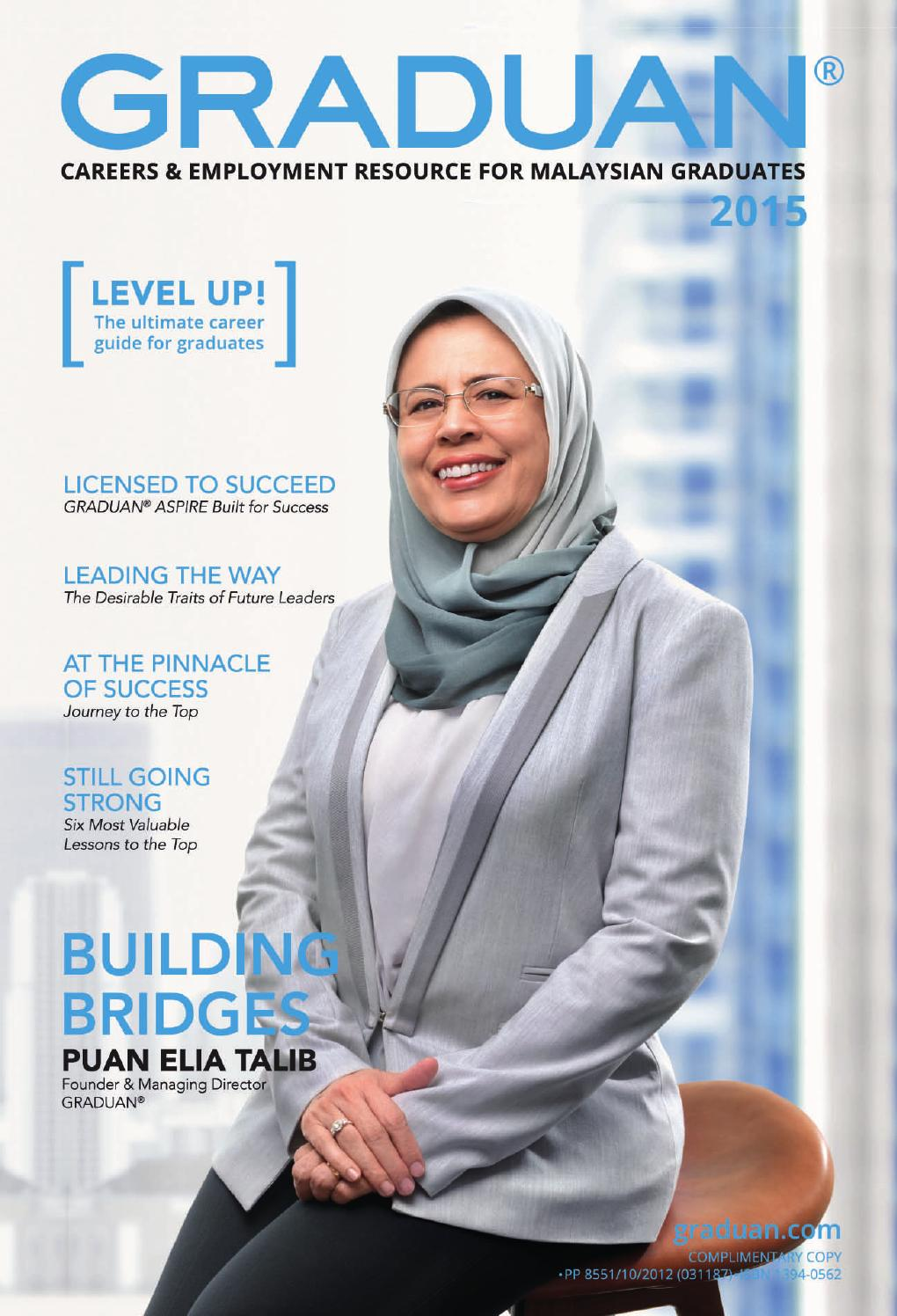 Founder of Graduan, Puan Elia Talib on the cover of the latest issue of Graduan.