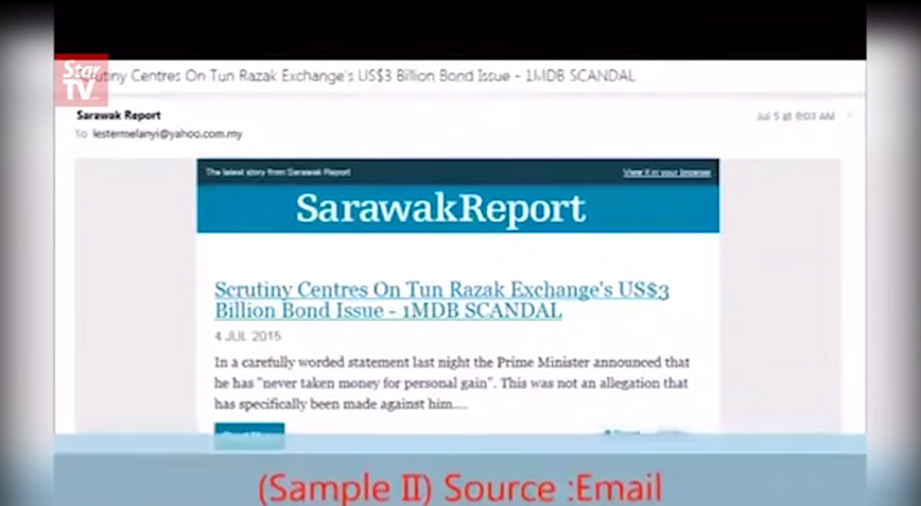 Screencap from 'Lester Melanyi Reveals Truth About Sarawak Report & 1MDB: Part 2'.