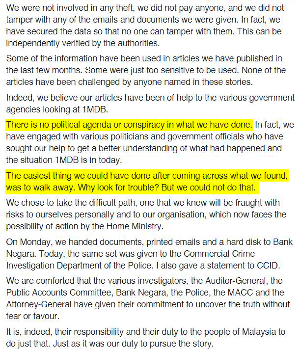 Screenshot of the statement posted on The Edge Malaysia's Facebook page.