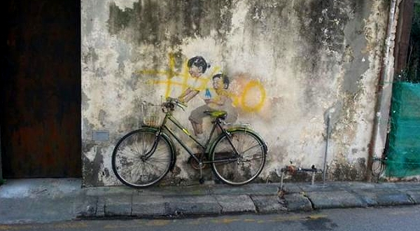 The iconic 'Little Children on a Bicycle' mural vandalised