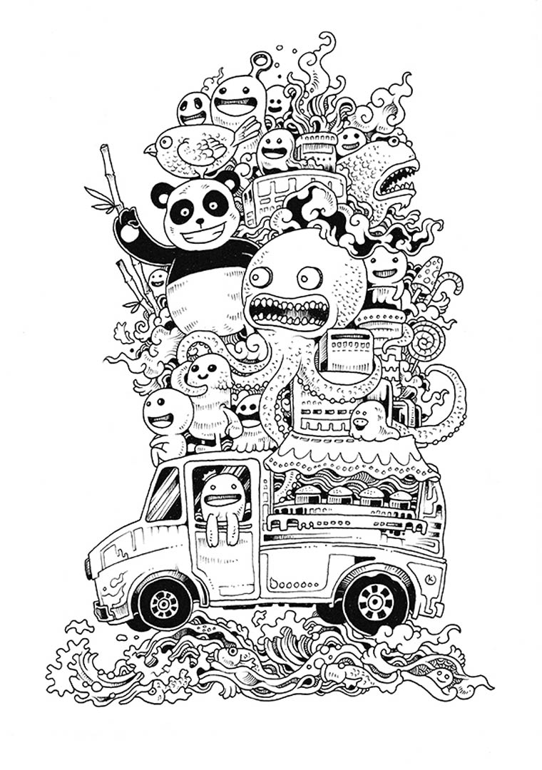 Doodle Invasion Zifflins Coloring Book Image Via Ufunk