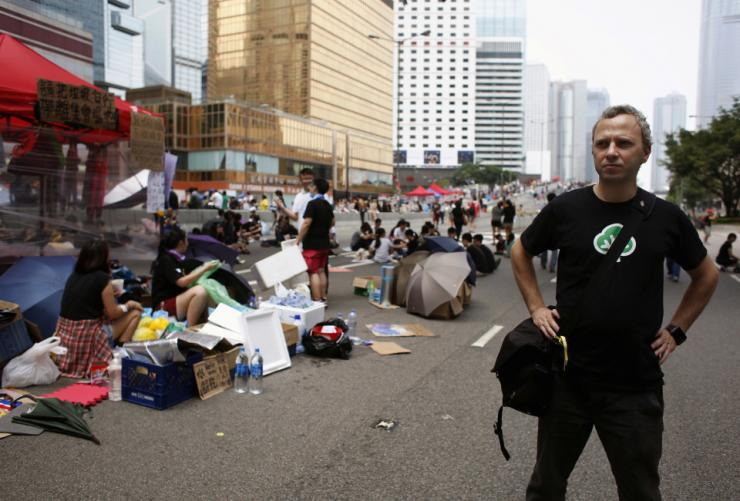 Micha Benoliel at the 'Occupy Central' protest.