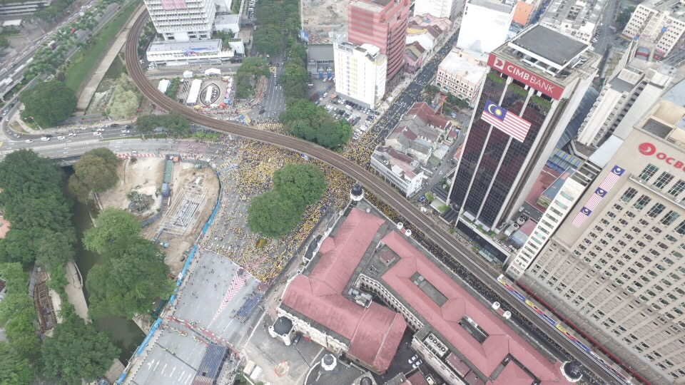 You're looking at the aerial view above Dataran Merdaka, that is situated on the left of the CIMB Bank building
