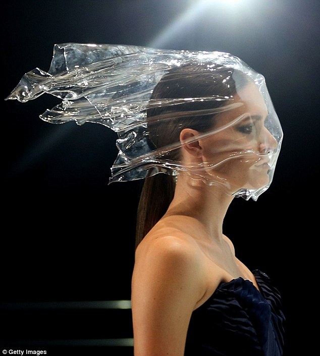 Vanessa Moe's debut collection at Mercedes Benz Fashion Week Australia featured plastic bag-like headwear.