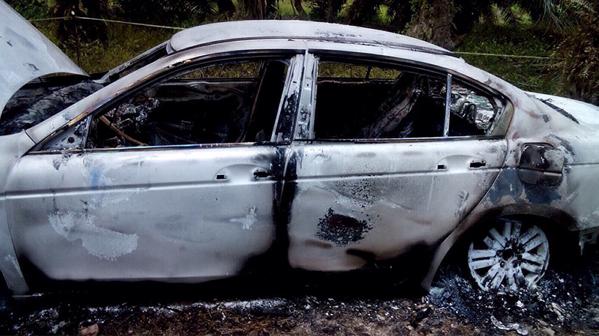 The burnt Proton Perdana car, the same make as the one used by Kevin, was found in Hutan Melintang, 5 Sept.