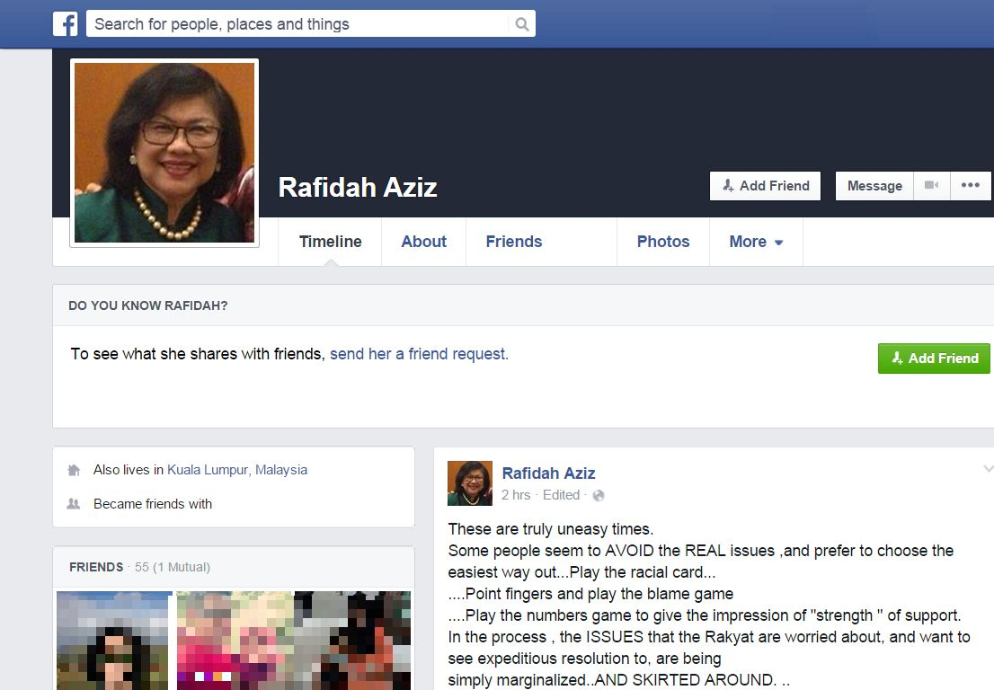 A screenshot of Rafidah Aziz's Facebook wall with the posting chastising leaders who racialise issues instead of giving resolutions that can help the rakyat.