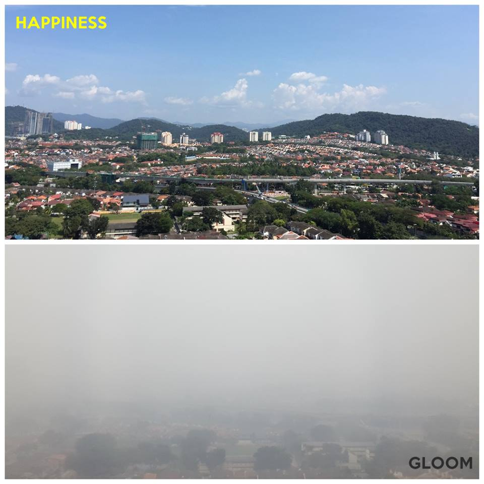 A before-and-after photo showing how much the haze has changed our view from the SAYS office.