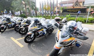 Police motorcycles parked right outside the National Crafts Complex