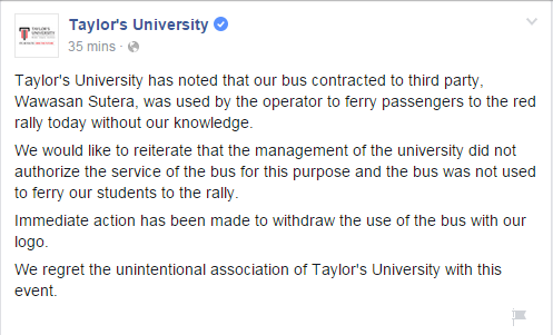 Taylor's University official statement after their bus was found to be ferrying protesters to Himpunan Rakyat Bersatu