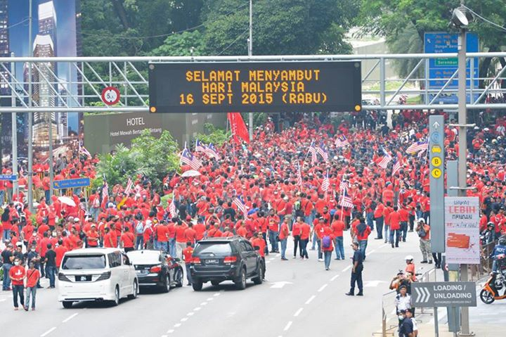 Protesters marching towards main gathering point, Padang Merbok