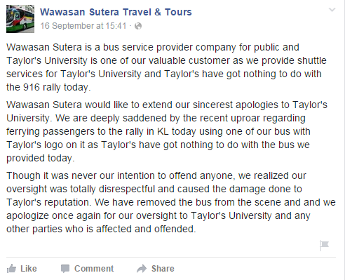 Wawasan Sutera's Facebook post following the Taylor's bus issue.