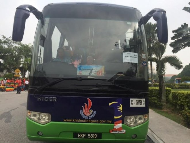 "It was brought to our attention that one of the PLKN buses used for the ""red shirts"" rally  had a label on its screen that read, ""Bukit Gantang"""