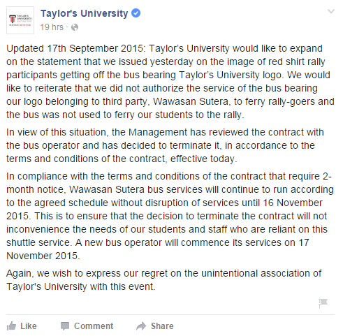 Taylor's University's updated statement regarding bus issue