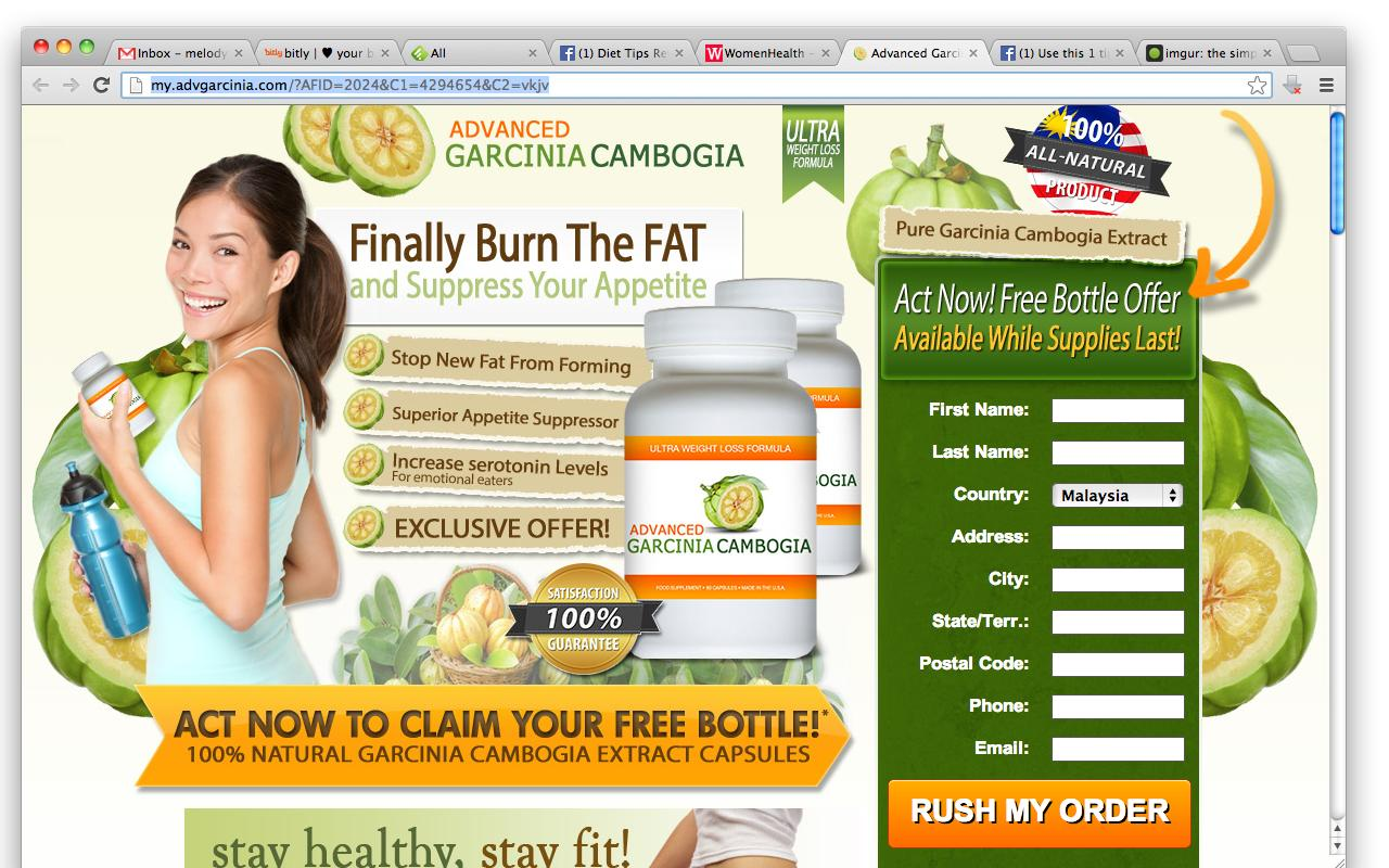 "... or ""Sex & Love"" tabs all lead to ""Advanced Garcinia Cambogia"" website"