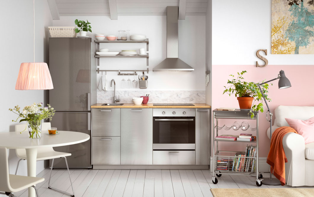 Inject elements of vintage furnishing with modern design for a shabby chic kitchen.