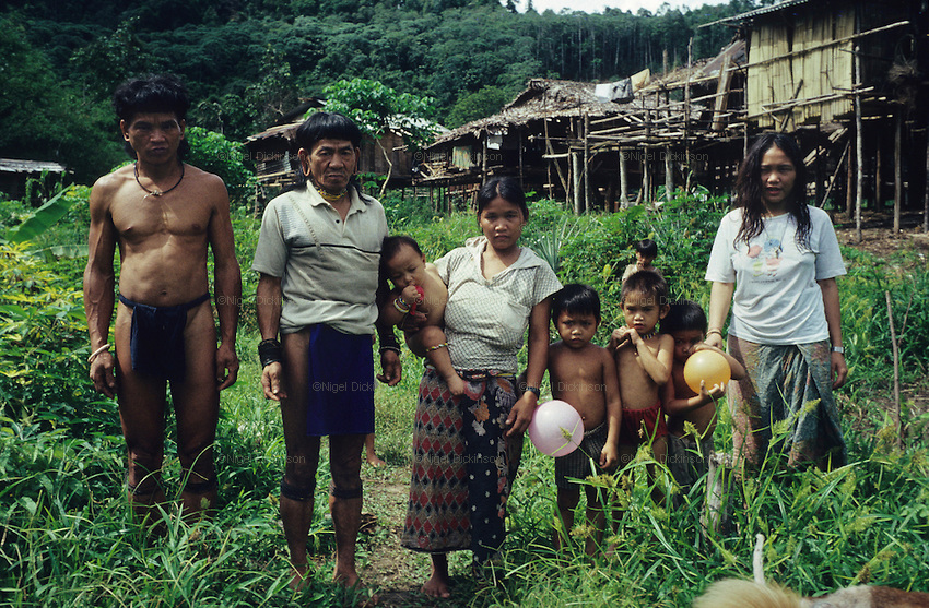 A Penan family, photographed at their temporary settlement, *sulap*