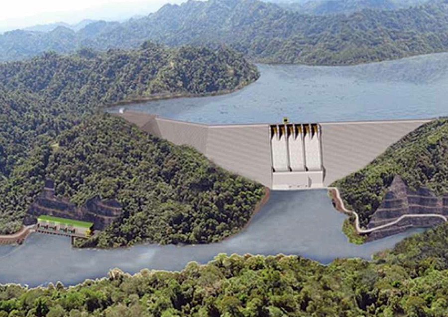 A visualization of what the Baram dam that expected to flood 34, 000 hectors of forests would look like.