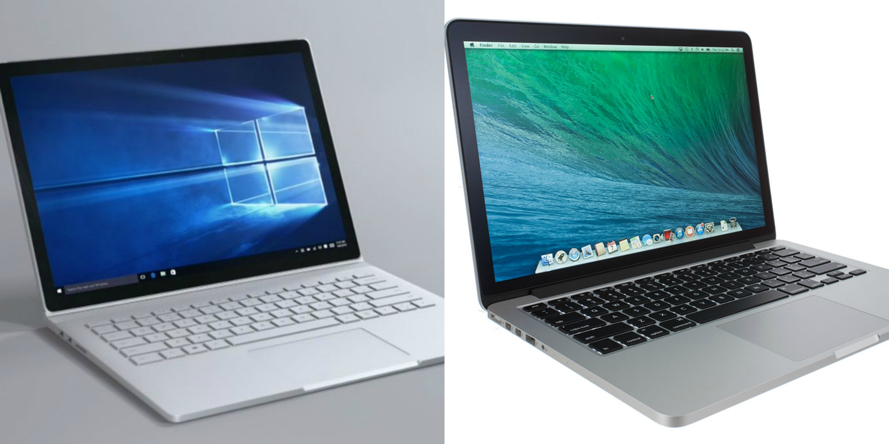 A side-to-side comparison between the Surface Book and Macbook Pro.