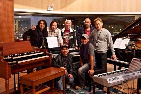 Gary Gideon (top row, 3rd from left) with George Lam (seated, right). Also in picture: Andy Peterson, Music Director Andrew Tuason, Recording Engineer Peter Chong, and Guitarist Sham Kamikaze.