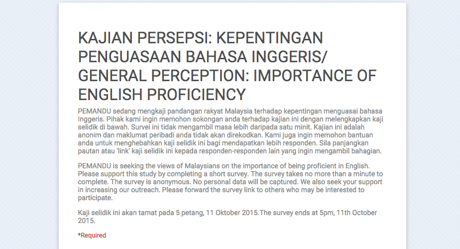 cause of decline in english proficiency in malaysia Unemployed because they can't speak english share this story in english or bahasa malaysia parents and their children can decline the offer to go to dlp.
