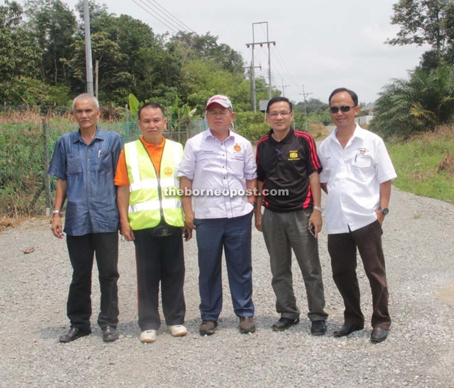 Martin (third from right) with representatives from Public Works Department during a working visit at Mentung Merbok