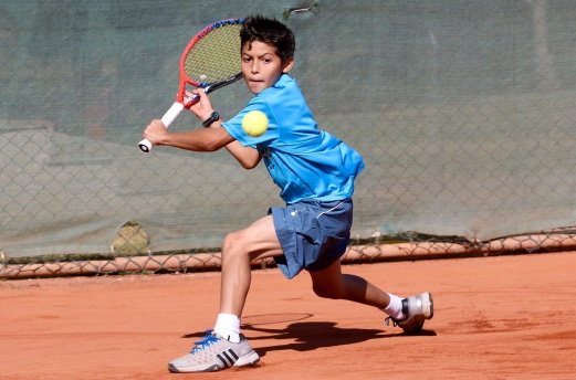 Imran in action at the World Junior Masters tennis tournament in Turkey on Sunday.