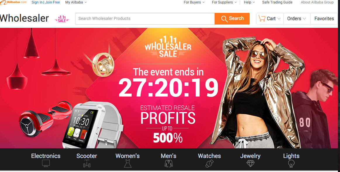 A screenshot of Alibaba's website.