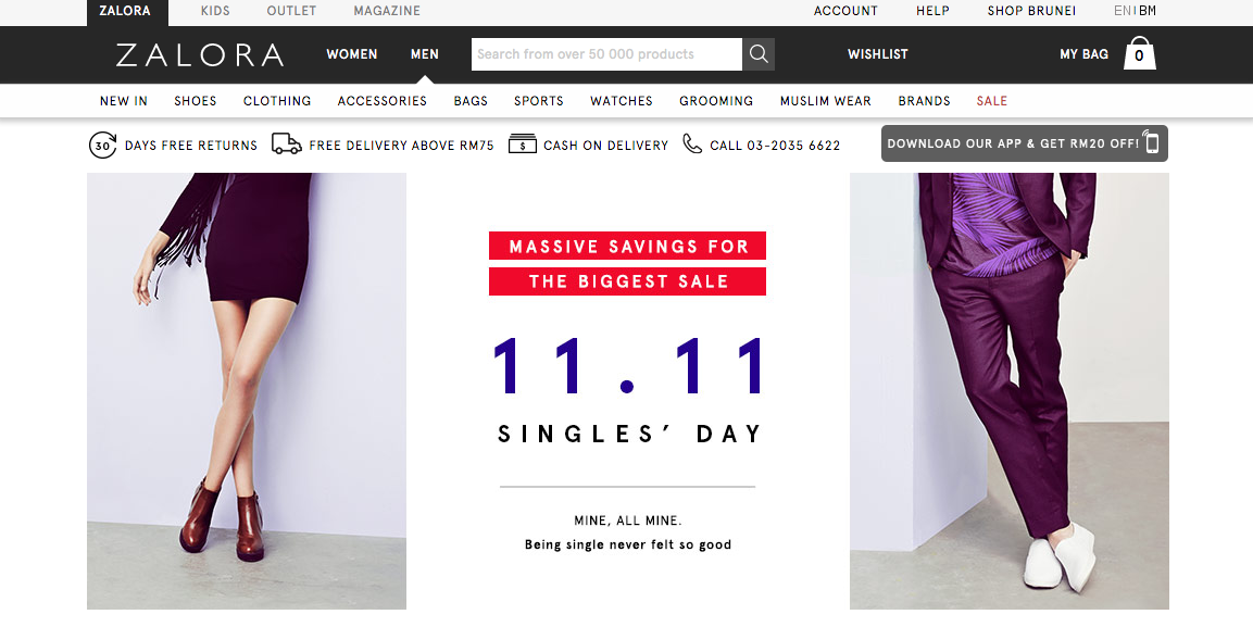 Zalora Malaysia's very own Singles Day sale.