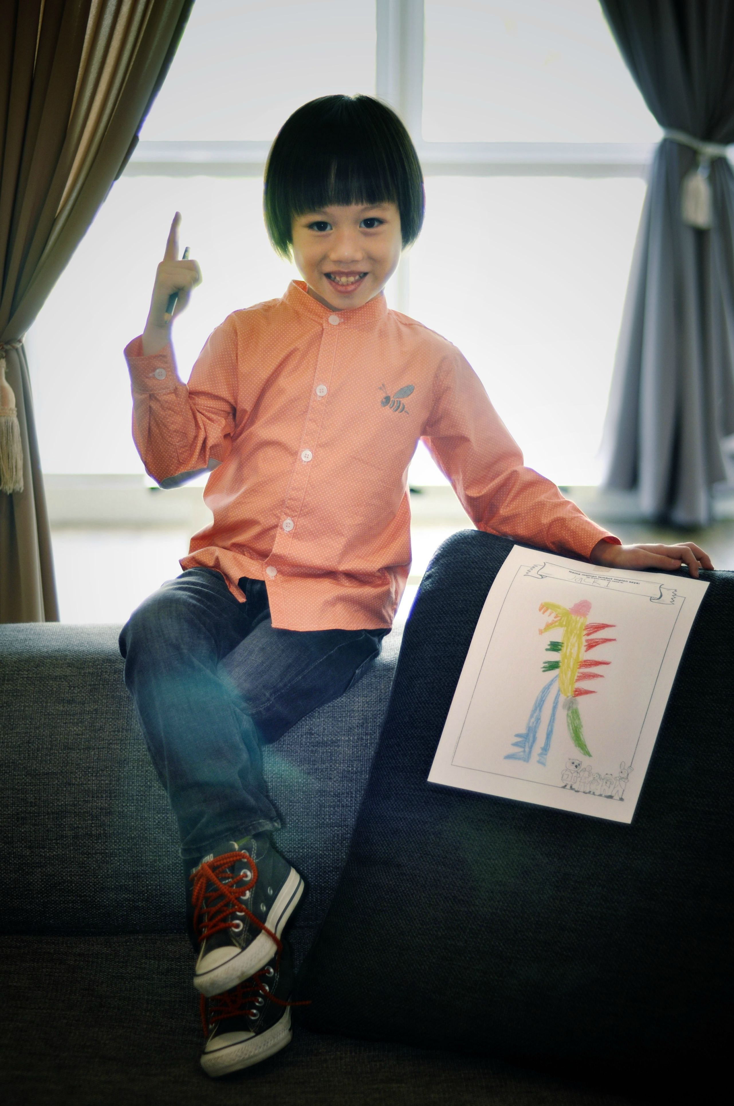 Terence with his drawing.