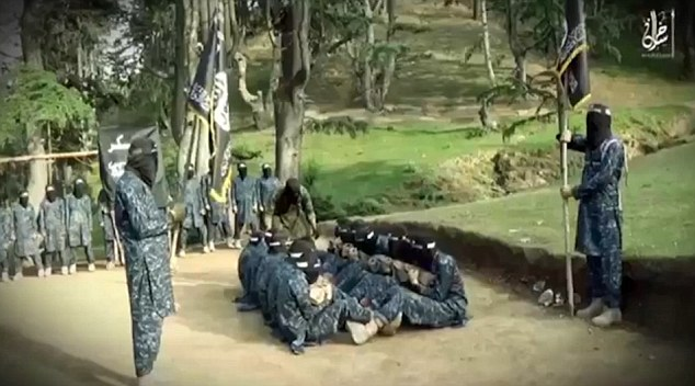 Militants get up close and personal by doing a number of sit-ups.