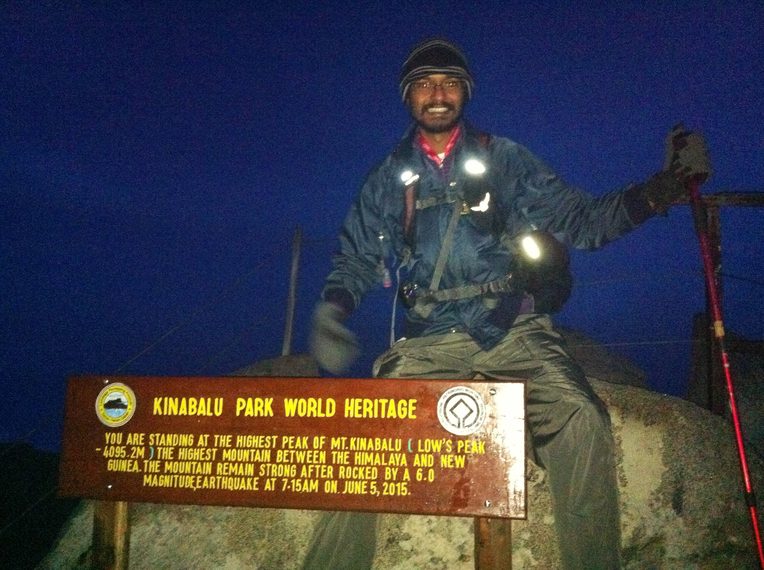 20 December 2015, right after he reached the peak of Mount Kinabalu