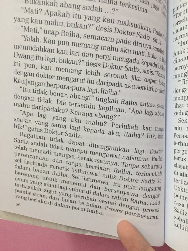 Page 56 of the Pantai Kasih novel, detailing the excerpt about the sexual encounter