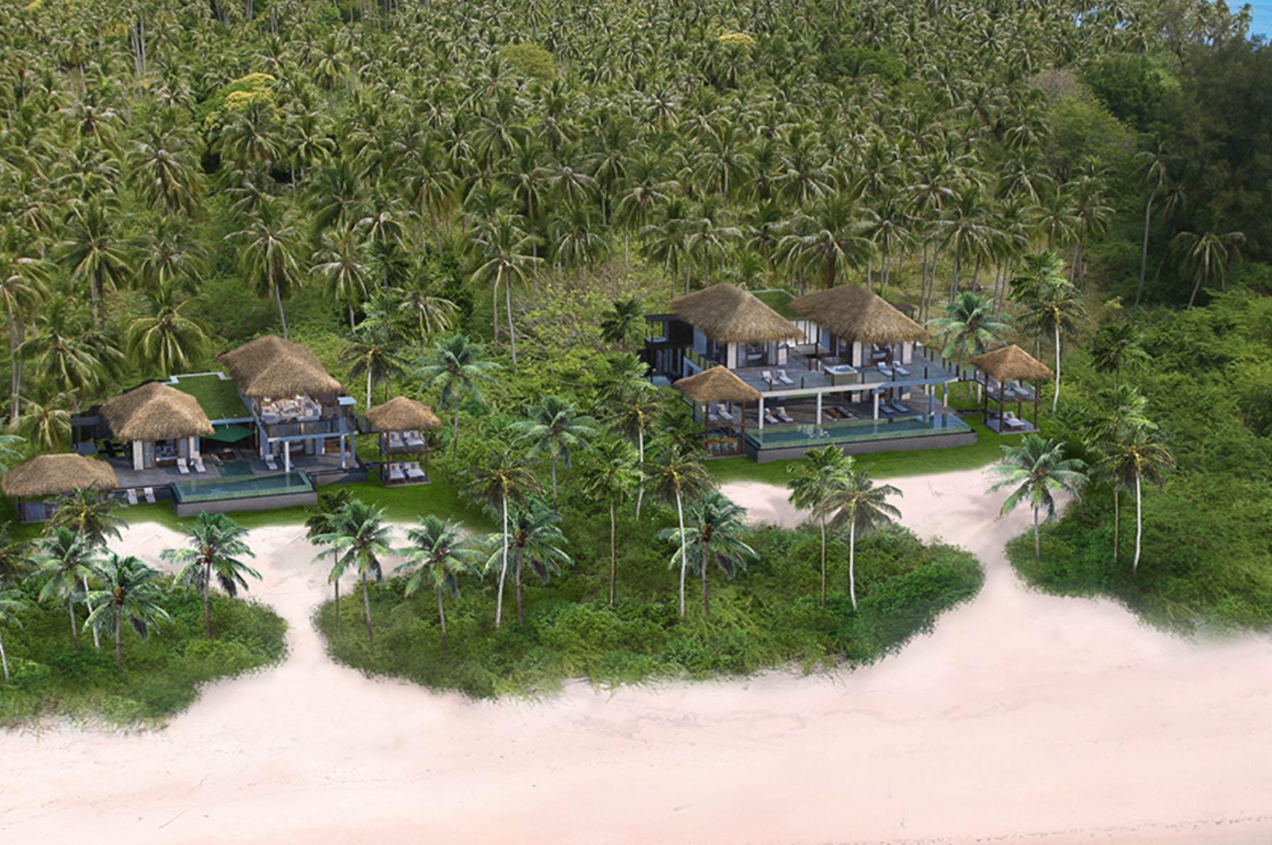 An artist's illustration of the villas.