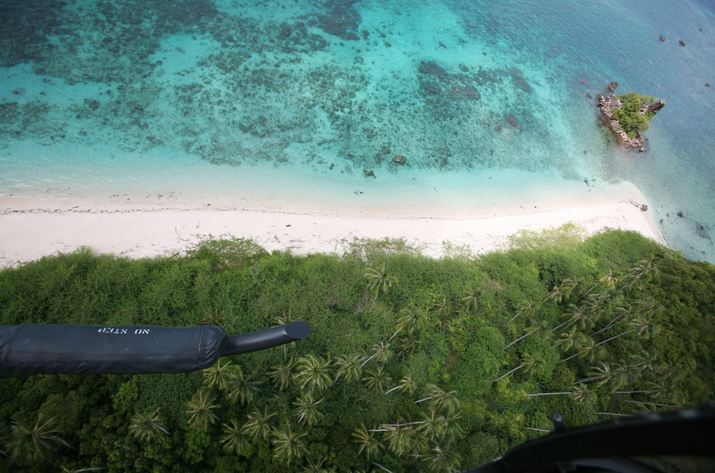 An aerial view of the island from a helicopter.