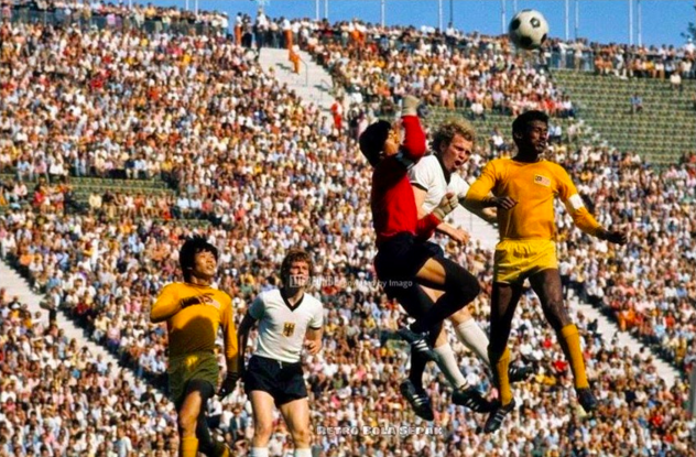 Malaysia plays West Germany in the 1972 Olympics opening football match.