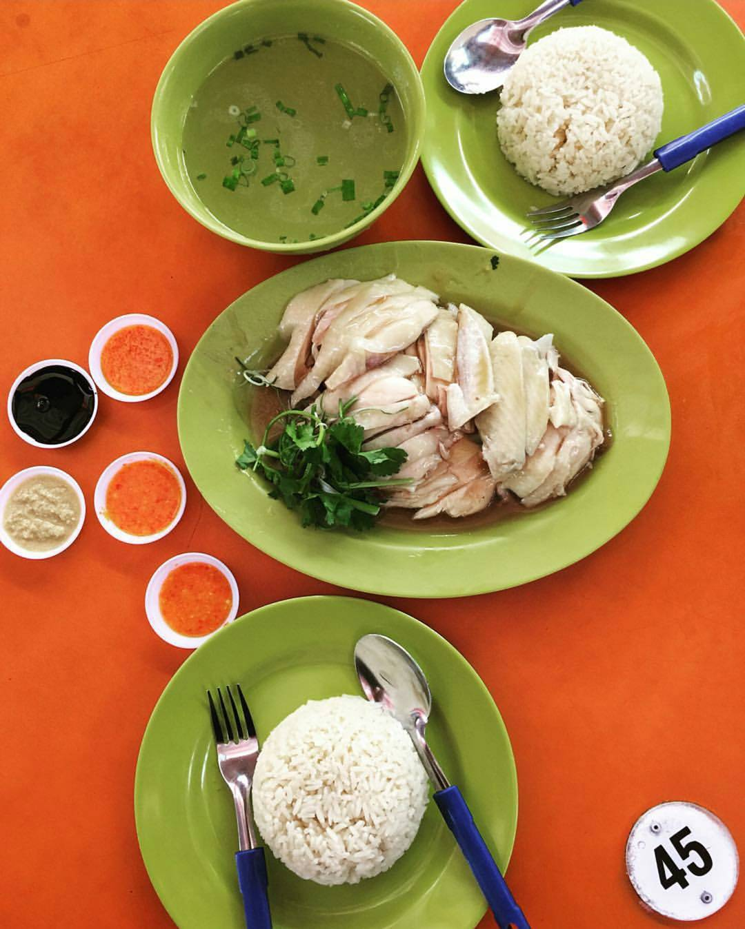 Hainanese chicken rice at Tian Tian Hainanese Chicken Rice, Singapore.