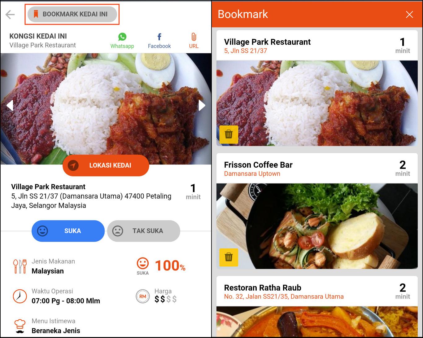 Setelah jumpa restoran yang ingin dilawati, hanya tekan 'Bookmark Kedai Ini' (kiri) dan ia akan terus tersenarai dalam 'Bookmark List' anda (kanan).