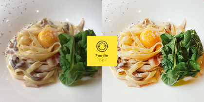 Left: An unedited food photo. Right: A food photo edited with Foodie.