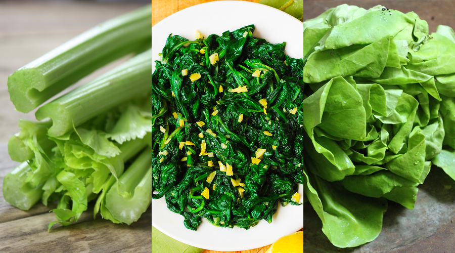 From left: Celery, cooked spinach, and butter lettuce.