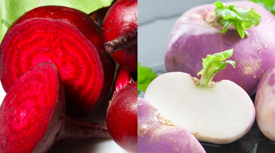 Beets (left) and turnips (right).