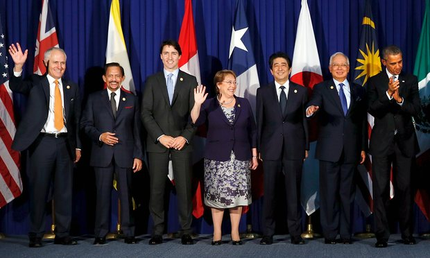 From left: Malcolm Turnbull, Brunei Sultan Hassanal Bolkiah, Canada's Justin Trudeau, Chile's Michelle Bachelet, Japan's Shinzo Abe, Malaysia's Najib Razak and Barack Obama of the US before their meeting alongside the Apec summit in Manila.