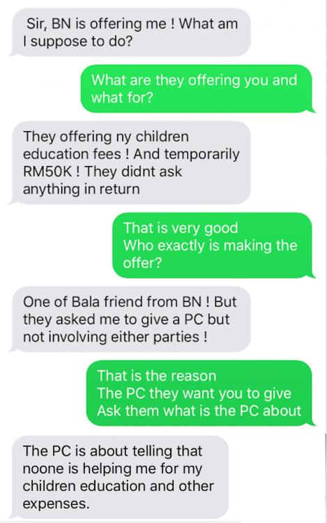The alleged copies of text messages that show Ramesh bribed Bala's widow.