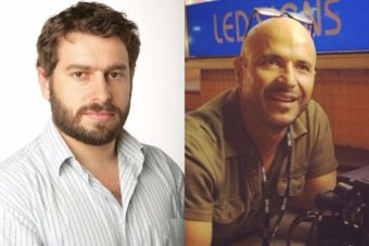 Reporter Linton Besser (left) and camera operator Louis Eroglu (right) were detained in the city of Kuching.