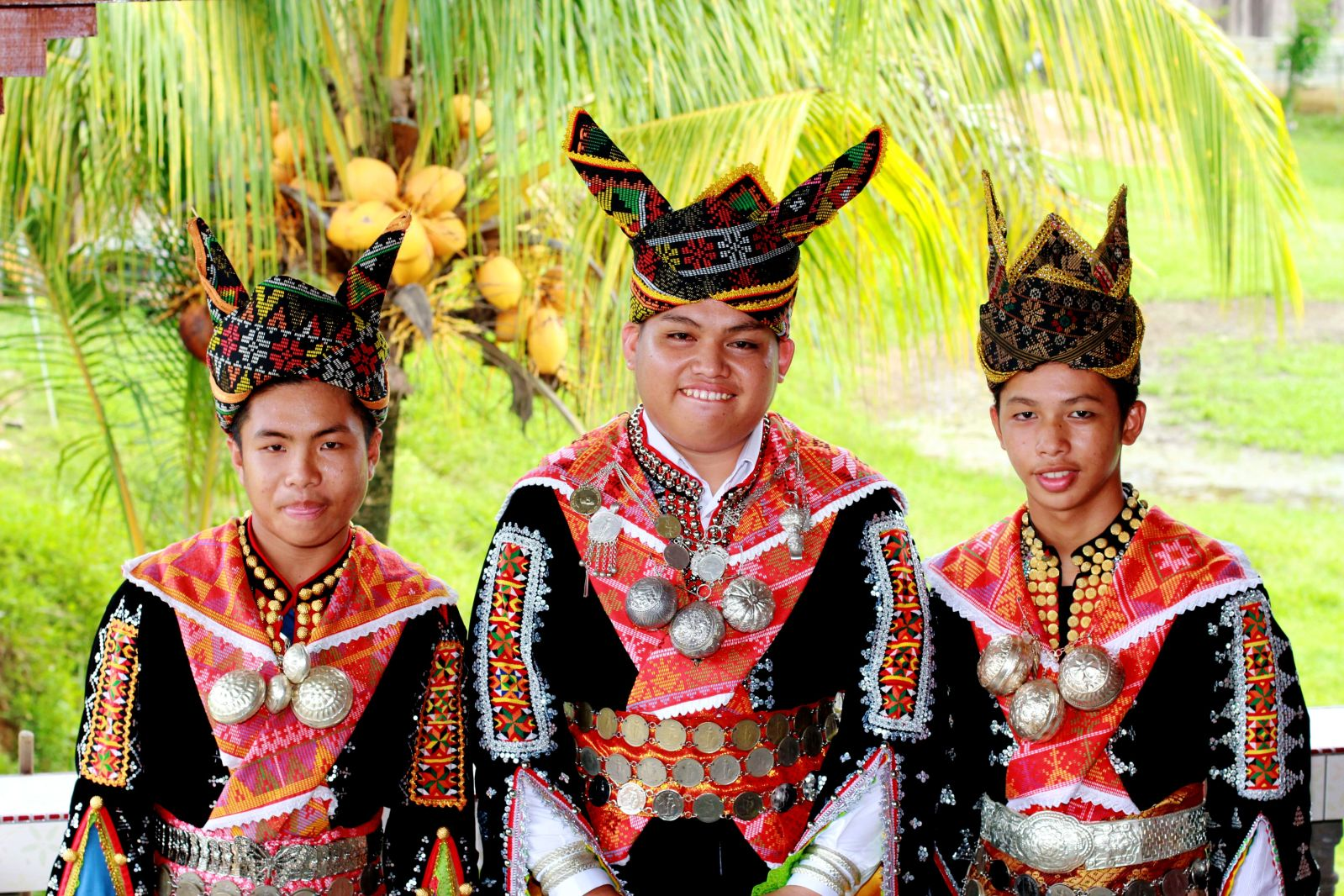 "'The groom and his best men; This outfit is known as ""Sinipak"" and usually worn only during wedding ceremony for the indigenous Kadazandusun tribe in Kota Belud, Sabah, Malaysia"