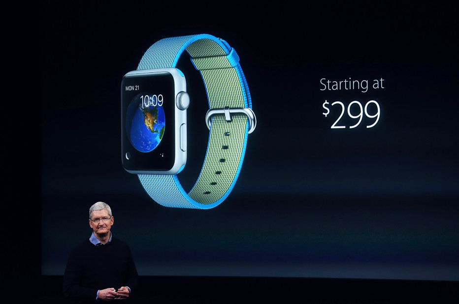 Apple CEO Tim Cook talking about the price cut for the Apple Watch.