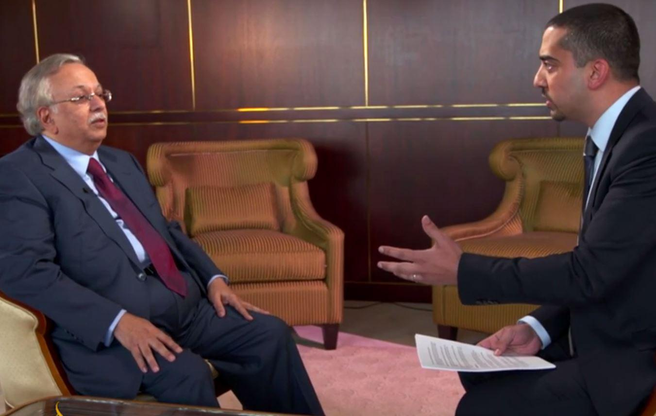 Abdallah al-Mouallimi being interviewed by Mehdi Hasan.