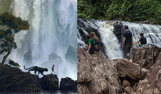 The waterfall and rocky landscape (left) were inspired by Brownell's trekking expeditions in Sabah (right).
