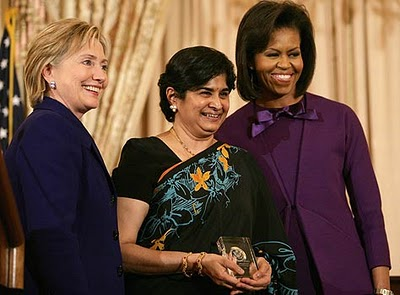 """Dr Ambiga receiving the """"International Women of Courage"""" Award in 2009."""