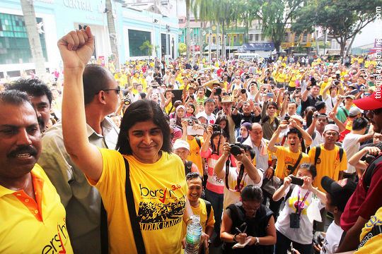 Dr Ambiga with her supporter behinds her in a Bersih rally.