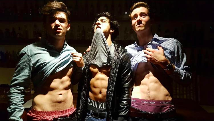 Aryan (middle) and his mates show off their Calvin Kleins.